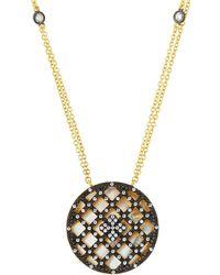 Freida Rothman - Caged Cubic Zirconia Disc Pendant Necklace - Lyst