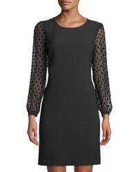 Karl Lagerfeld - Polka-dot Burnout Sleeve Shift Dress - Lyst