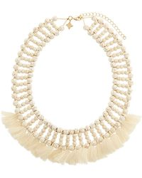 Panacea - Beaded Howlite Tassel Necklace - Lyst