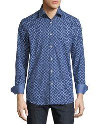 Bugatchi - Classic-fit Half-circle Sport Shirt - Lyst