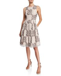 Eliza J Floral Lace Eyelash Fit-&flare Dress
