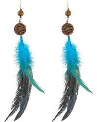 Nakamol - Feather & Beaded Drop Earrings - Lyst