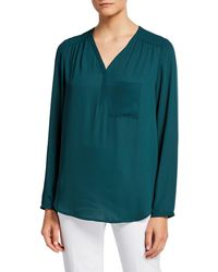 Pleione V-neck Long-sleeve One-pocket Georgette Blouse - Green