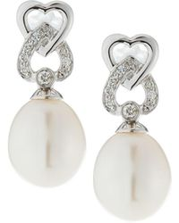 Belpearl - 14k White Gold Double-heart & Pearl Earrings - Lyst