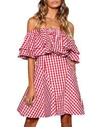 StyleKeepers - Piper Off-the-shoulder Gingham Dress - Lyst