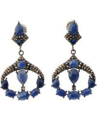 Bavna - Silver Deco Drop Earrings With Blue Sapphire & Diamonds - Lyst