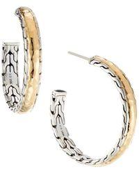 John Hardy Clic Chain Palu Silver Gold Hoop Earrings Lyst