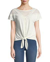 Dex - Lace-trim Tie-front Tee - Lyst