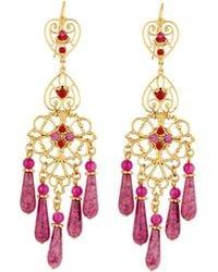 Jose & Maria Barrera - Agate & Crystal Filigreed Chandelier Earrings - Lyst