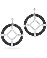 Alor - 18k Diamond Cable Circle Drop Earrings - Lyst