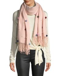 BCBGMAXAZRIA - Fringed Muffler Scarf W/ Pearls And Pompoms - Lyst