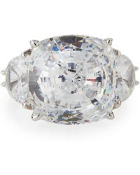 Fantasia by Deserio - Cushion-cut Clear Cz Cocktail Ring - Lyst