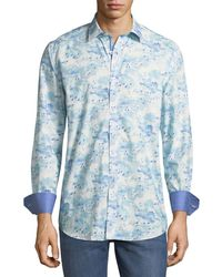 Bugatchi - Classic-fit Watercolor-sky Sport Shirt - Lyst