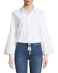Laundry by Shelli Segal - Bell-sleeve Drawstring Hem Button-front Blouse - Lyst
