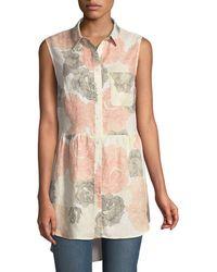 Joan Vass - Sleeveless Button-front Floral Linen Blouse - Lyst