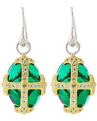 Jude Frances - Fleur-over-stone Drop Earrings In Green Quartz - Lyst