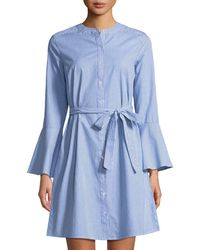 Neiman Marcus - Bell-sleeve A-line Striped Shirtdress - Lyst