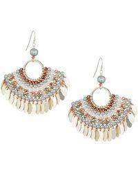 Nakamol - Bead Layered Half-circle Earrings Silver - Lyst