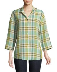 Lafayette 148 New York - Analeigh 3/4-sleeve Plaid Blouse - Lyst