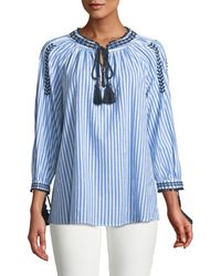 Neiman Marcus - 3/4-sleeve Striped Peasant Blouse - Lyst