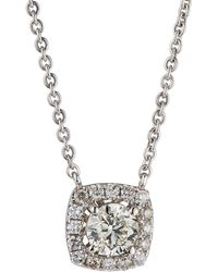 Neiman Marcus - 14k White Gold Diamond Cushion Solitaire Pendant Necklace 0.86tcw - Lyst