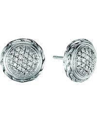 John Hardy - Silver Stud Earrings With Diamonds - Lyst