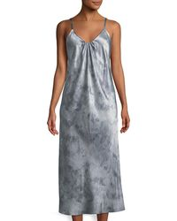 Vince - Watercolor Marble Shirred-neck Camisole Dress - Lyst