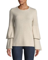 Sail To Sable - Double Bell-sleeve Wool-blend Sweater - Lyst