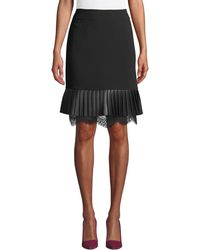 Karl Lagerfeld - Faux-leather & Lace A-line Skirt - Lyst