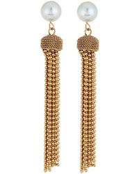 Lydell NYC - 10mm Pearly Ball Chain Tassel Earrings - Lyst
