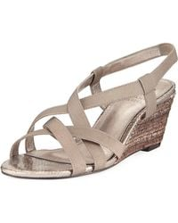Adrianna Papell - Elastic Stretch Wedge Sandal - Lyst