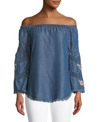 Philosophy | Embroidered Off-the-shoulder Chambray Shirt | Lyst