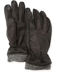 Neiman Marcus - Men's Leather Tech Gloves W/wool Cuff - Lyst