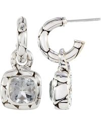 John Hardy - White Topaz Square Drop Hoop Earrings - Lyst