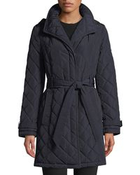 Donna Karan - Belted Quilted Long-jacket - Lyst