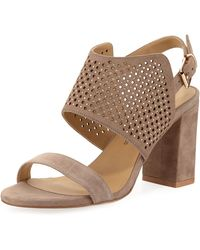 Neiman Marcus - Brae Perforated Suede Sandals - Lyst