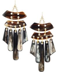 Devon Leigh - Statement Horn Chandelier Earrings - Lyst