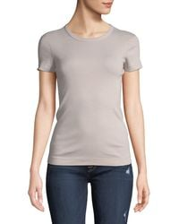Three Dots - Short-sleeve Fitted Combed Cotton Crewneck Tee - Lyst