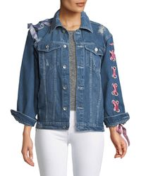 Haute Rogue - Lace-up-sleeve Denim Jacket - Lyst