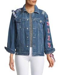 Haute Rogue - Lace-up-sleeve Denim Jacket - Lyst