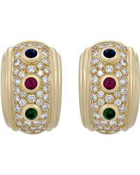 Dior - Estate 18k Multi-stone Huggie Hoop Earrings - Lyst