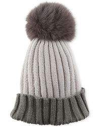 Adrienne Landau - Colorblock Ribbed Beanie Hat With Fox Fur Pompom - Lyst
