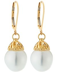 Belpearl - 14k Gold Petal Drop & Pearl Earrings - Lyst