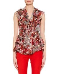 Alexander McQueen - Sleeveless Feather Fil-coupe Ruffled Blouse - Lyst