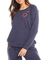 Chaser - Heart Distressed Long-sleeve Sweatshirt - Lyst