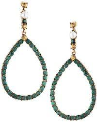 Fragments - Crystal Teardrop Earrings Green - Lyst