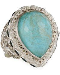 Armenta - Turquoise & Quartz Doublet Pear Ring - Lyst
