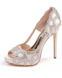 c71a842679d Badgley Mischka - Witney Embellished Peep-toe Evening Pumps - Lyst