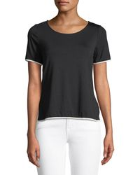 Casual Couture - Zip-back Contrast-piped Tee - Lyst