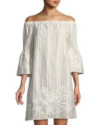 Neiman Marcus - Off-the-shoulder Embroidered Striped Linen Dress - Lyst